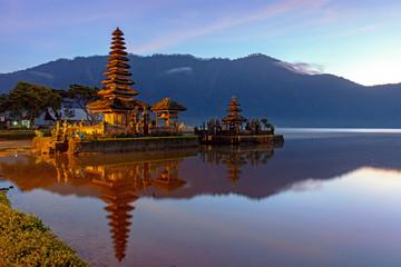 Sunrise at Pura Ulun Danu Bratan Temple in Bedugul, Bali, Indonesia.