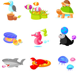 Close-up of various aquatic animals