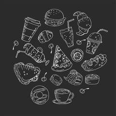 Circle made of elements. Hand drawn food, sweets and drinks on a chalkboard background