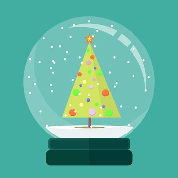 Christmas snow globe with a fir-tree inside in flat style. New year glass ball vector icon isolated from the background.
