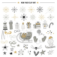 New Year clip art. Big set of hand drawn Christmas elements and decorations. Vector illustration