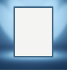 White paper sheet for photos hanging on the light blue wall in a room studios. Template mock up for display of product or your content. Business background.
