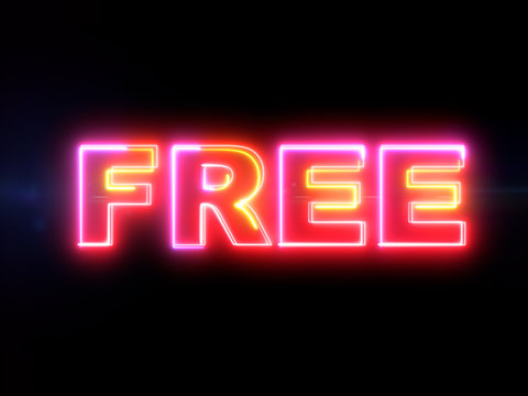 Free - colorful glowing outline text word on blue lens flare dark background