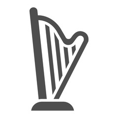 Harp glyph icon, music and ancient, instrument sign, vector graphics, a solid pattern on a white background.