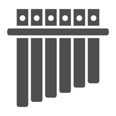 Panpipe glyph icon, musical and instrument, flute sign, vector graphics, a solid pattern on a white background.