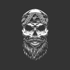 Vintage monochrome rocker skull in bandana