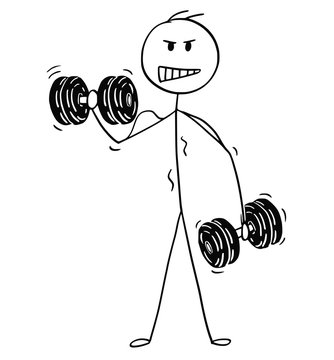 Cartoon stick drawing conceptual illustration of muscular bodybuilder man lifting two dumbbells during workout.