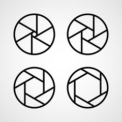 Set of aperture icons. Vector illustration.