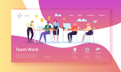 Team Work Landing Page. Banner with Flat Business People Characters Working Together Website Template. Easy Edit and Customize. Vector illustration