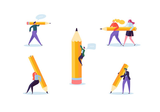 Business People with Big Pencils. Creative Characters Process Organization. Man and Woman with Pencil. Vector illustration