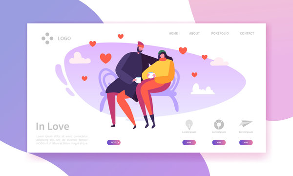 People in Love Landing Page. Valentines Day Banner with Flat Characters and Hearts. Website Template Easy Edit and Customize. Vector illustration