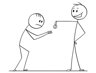 Cartoon stick drawing conceptual illustration of haughty or arrogant man or businessman giving one coin to humbled beggar or supplicant.