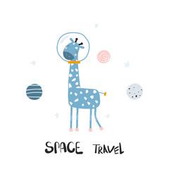 Funny giraffe in open space. Kids print. Vector hand drawn illustration.