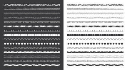 Set of decorative hand drawn vector borders. Hand drawn tribal and geometric design elements. Pattern brushes included.