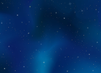Realistic space celestial evening sky background. Cosmic bright stars template, starry night pattern. Vector illustration for cover, design, wallpaper, poster, backdrop