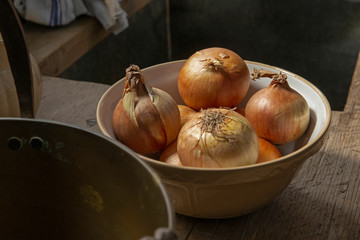 Bodmin Castle England Great Brittain Cornwall. In the kitchen onions