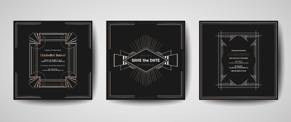 Art deco luxury wedding Save the Date, invitation cards collection with gold geometric frames. Vector trendy cover, graphic poster, gatsby 1920 brochure, design template