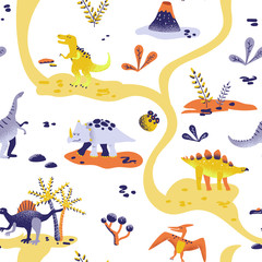 Seamless cute cartoon dinosaurs pattern. Vector baby dino background texture. Backdrop for textile, fabric, wallpaper print