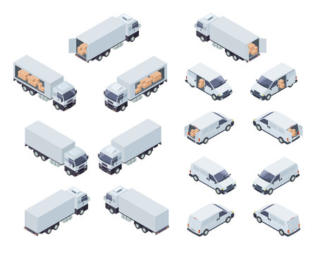 Loaded Cargo Vehicles Isometric Vector Icons Set