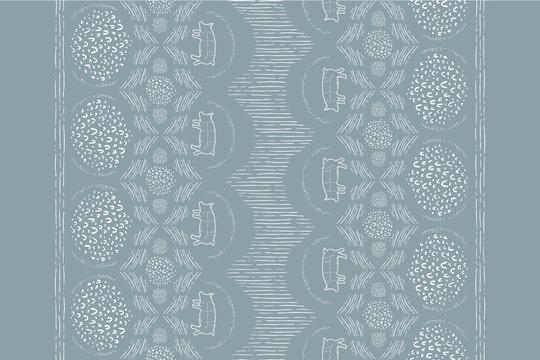 Seamless Vector Modern Farmhouse Pig Horizontal Hand Drawn Line Tea Towel Pattern in Sage & White
