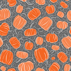 Seamless Vector Pretty Orange and Tangerine Hand Inked Pumpkins on Dark Gray with Lt Gray Tendrils