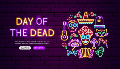 Day of the Dead Neon Banner Design