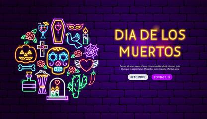 Dia de los Muertos Neon Banner Design