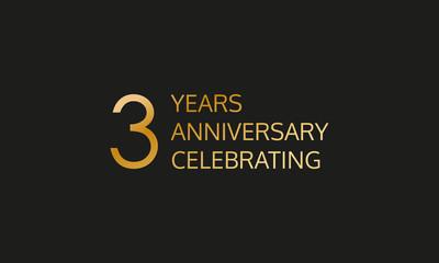 3 years anniversary logo. 3th anniversary celebration label. Design element or banner for birthday, invitation, wedding jubilee. Vector illustration.