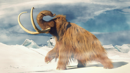 woolly mammoth, prehistoric animal in frozen ice age landscape (3d illustration)