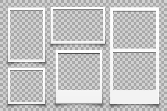 Empty white photo frame - vector