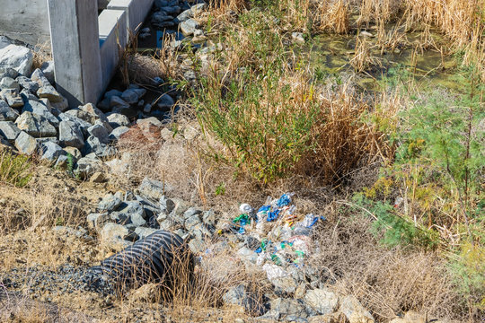 Flood control with trash from recent rain storm runoff