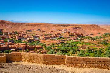 Desert village with Kasbah Ait Ben Haddou near Atlas Mountains, Morocco