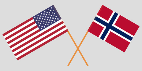 Norway and USA. The Norwegian and American flags. Official proportion. Correct colors. Vector