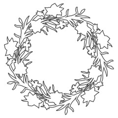 Floral circle wreath border with countour hand drawn flowers narcissus.