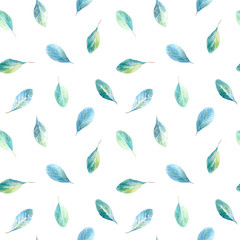Floral seamless pattern.Eucalyptus branches.Image for fabric, paper and other printing and web projects.Watercolor hand drawn illustration.White background.