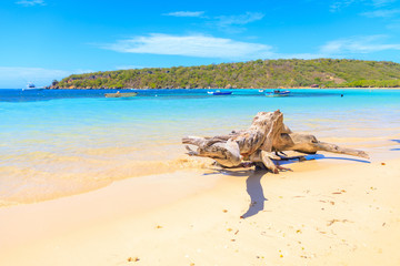 Caribbean Beach With Fishing Boats At Playa La Ensenada Dominican Republic