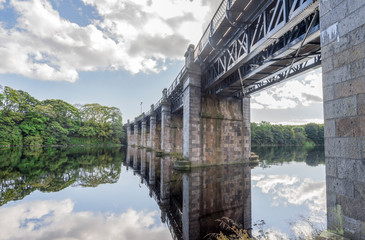 A view of scenic railway bridge across river Dee in Aberdeen, Scotland, Scotland