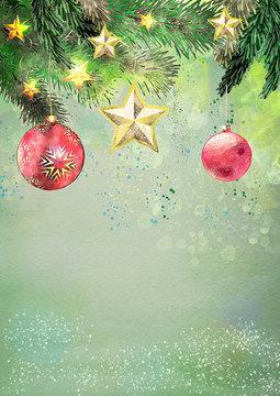 Watercolor christmas background. Design element
