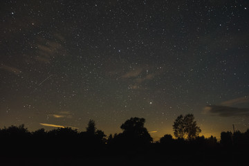 Starry night view of the village
