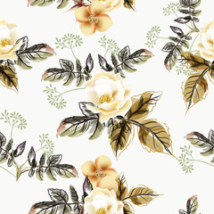 Beautiful vector flower pattern with watercolor plants
