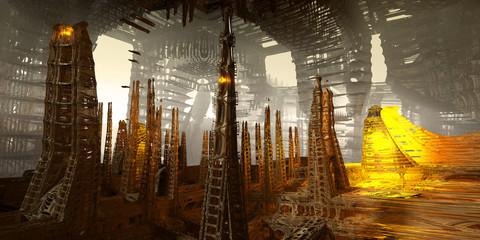 sci-fi city art