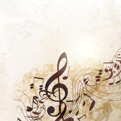 Grunge vector background with music notes in vintage style