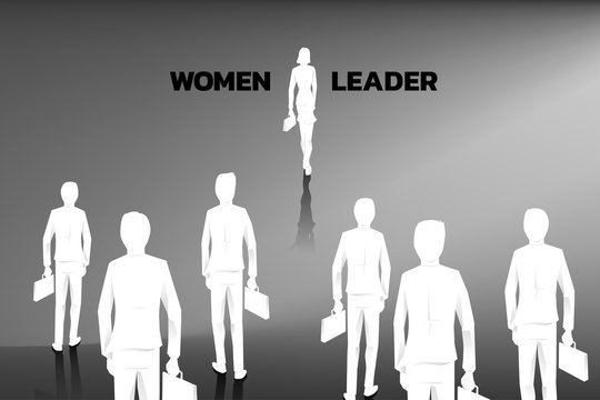 business concept women leader. women power. Silhouette of businesswomen step forward in front of all businessman. with briefcase step forward to the door for exit.