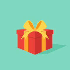 Gift box with ribbon flat design style