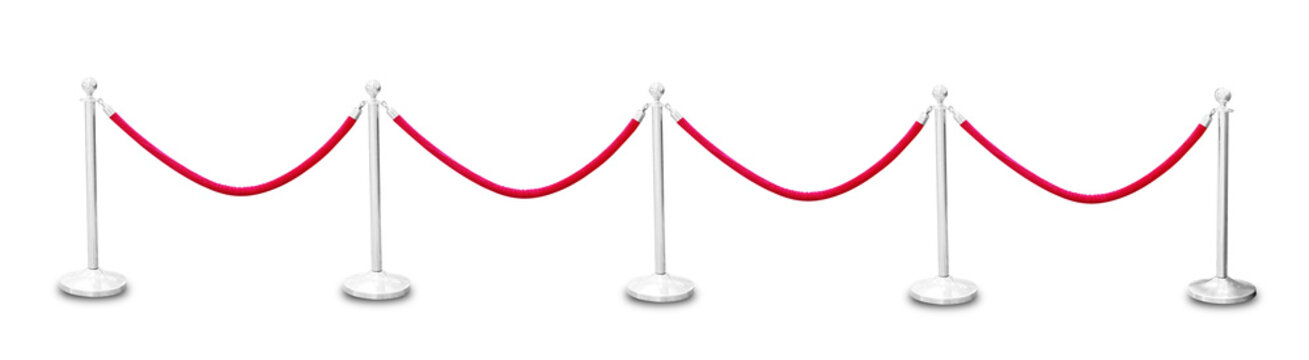 Silver pole with red rope barrier isolated on white background, This has clipping path.