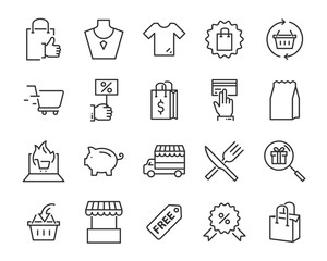 set of shopping line icons such as , delivery, shop, pay, e-commerce