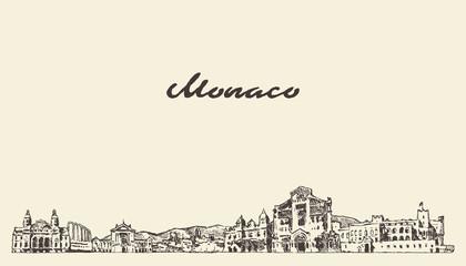Fototapete - Monaco skyline, vintage vector city drawn sketch