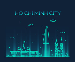 Ho Chi Minh City Saigon skyline Vietnam vector