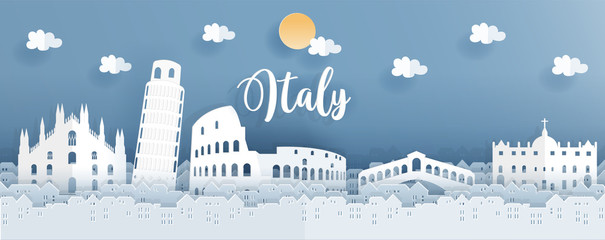 Fototapete - Travel poster with Italy famous landmark in paper cut style with brightly blue background. Vector illustration.