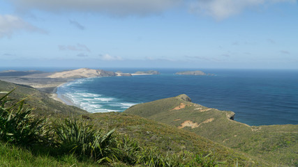 View of famous sand dunes and 90 mile beach from lookout, New Zealand
